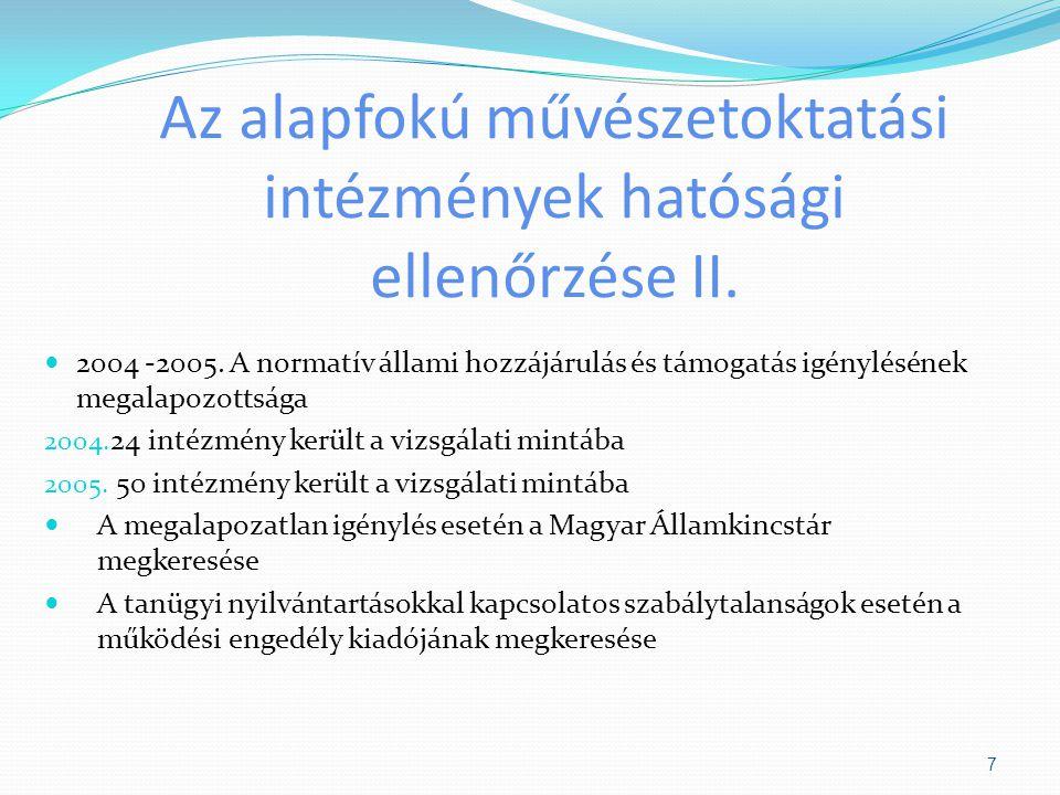 Az alapfokú művészetoktatási intézmények hatósági ellenőrzése II.
