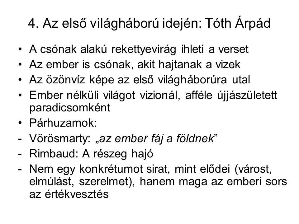 4. Az első világháború idején: Tóth Árpád