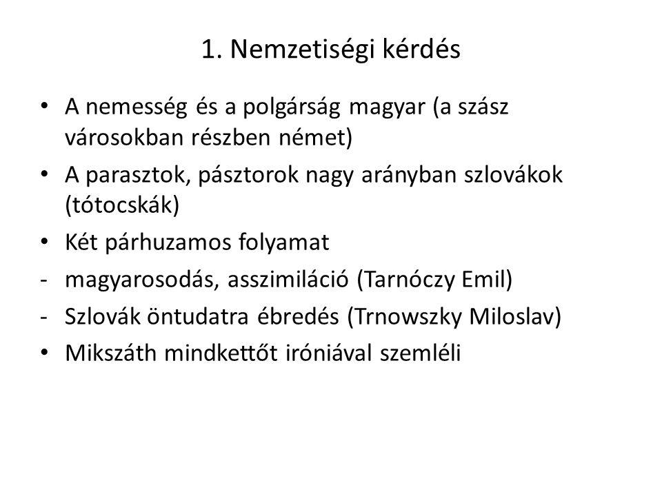 1. Nemzetiségi kérdés A nemesség és a polgárság magyar (a szász városokban részben német) A parasztok, pásztorok nagy arányban szlovákok (tótocskák)
