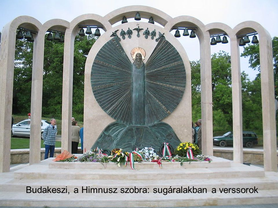Budakeszi, a Himnusz szobra: sugáralakban a verssorok