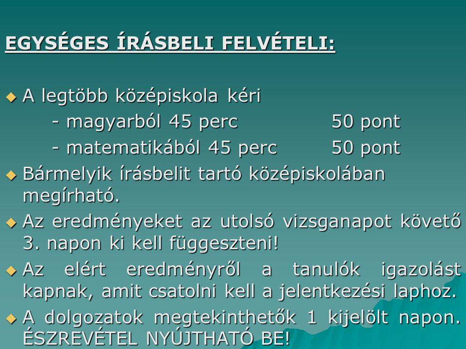 EGYSÉGES ÍRÁSBELI FELVÉTELI:
