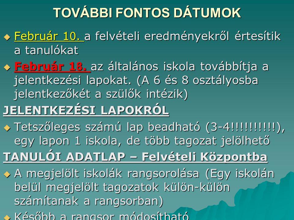 TOVÁBBI FONTOS DÁTUMOK