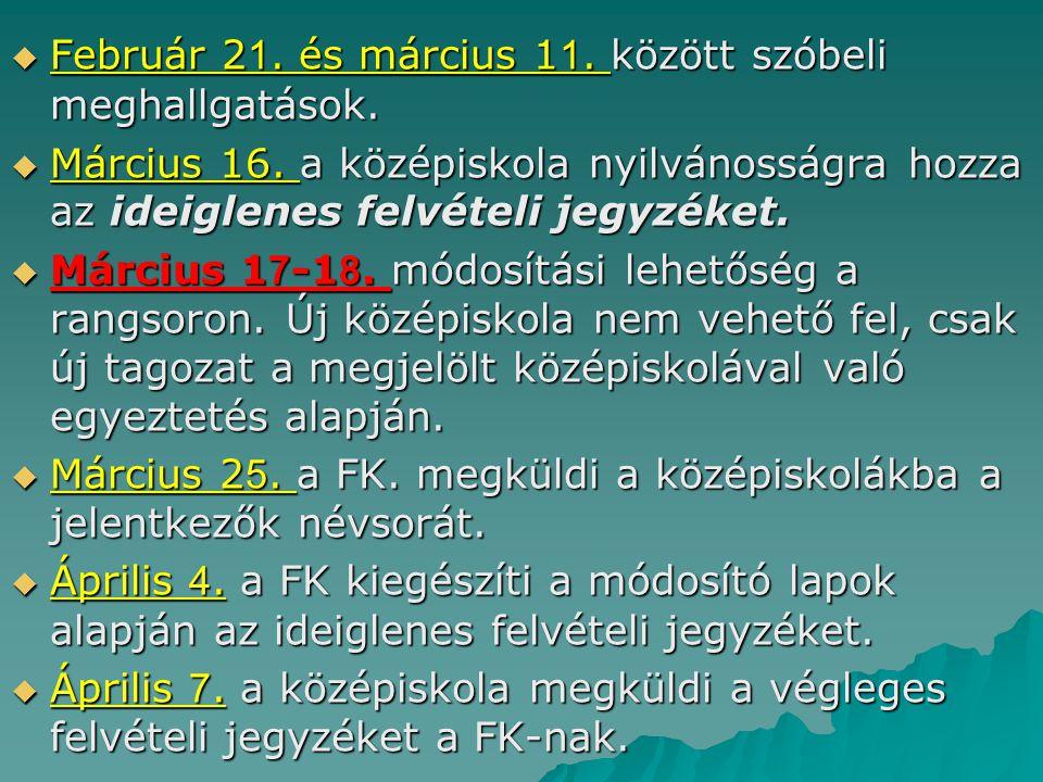 Február 21. és március 11. között szóbeli meghallgatások.