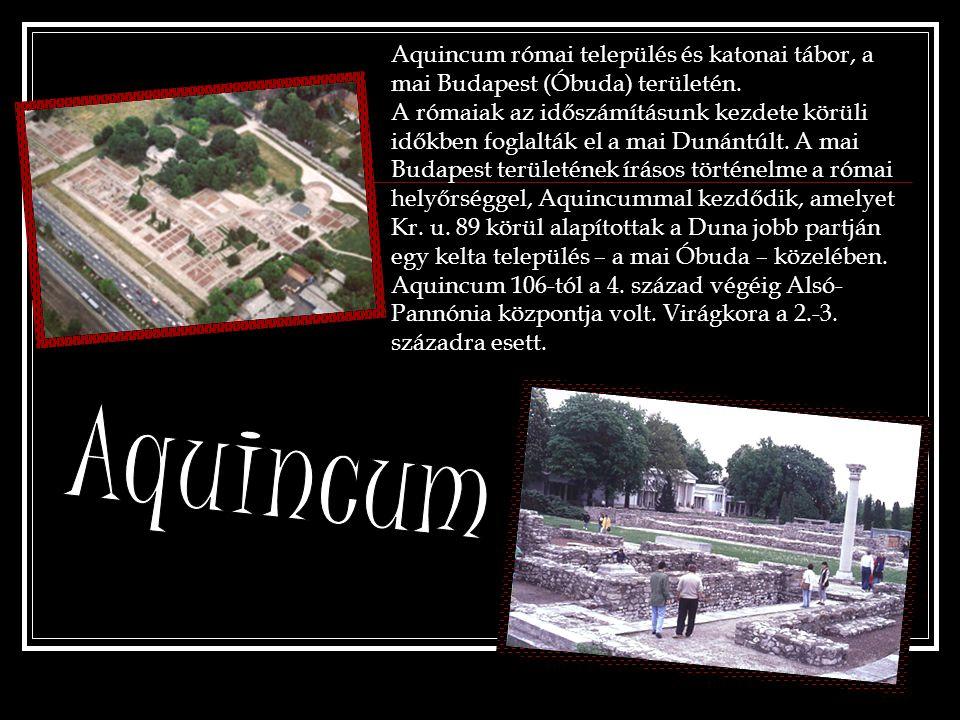 Aquincum római település és katonai tábor, a mai Budapest (Óbuda) területén.