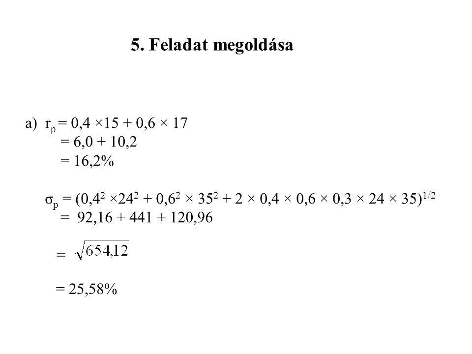 5. Feladat megoldása a) rp = 0,4 ×15 + 0,6 × 17 = 6,0 + 10,2 = 16,2%