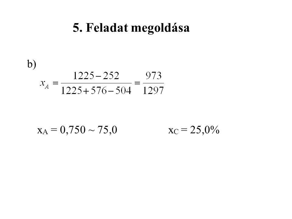 5. Feladat megoldása b) xA = 0,750 ~ 75,0 xC = 25,0%