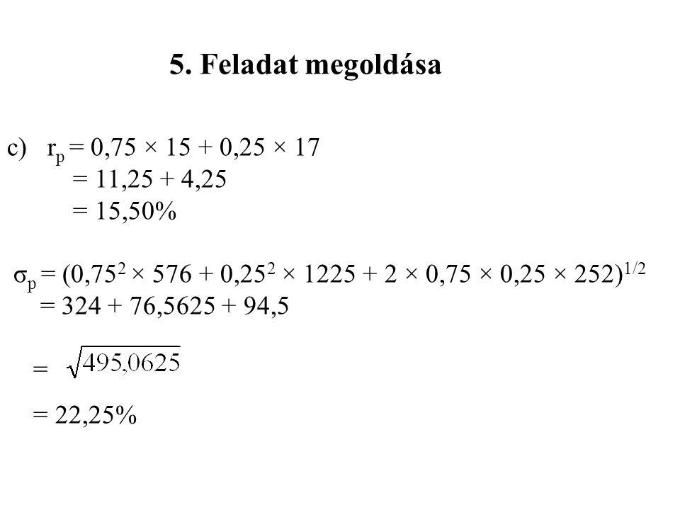 5. Feladat megoldása c) rp = 0,75 × 15 + 0,25 × 17 = 11,25 + 4,25
