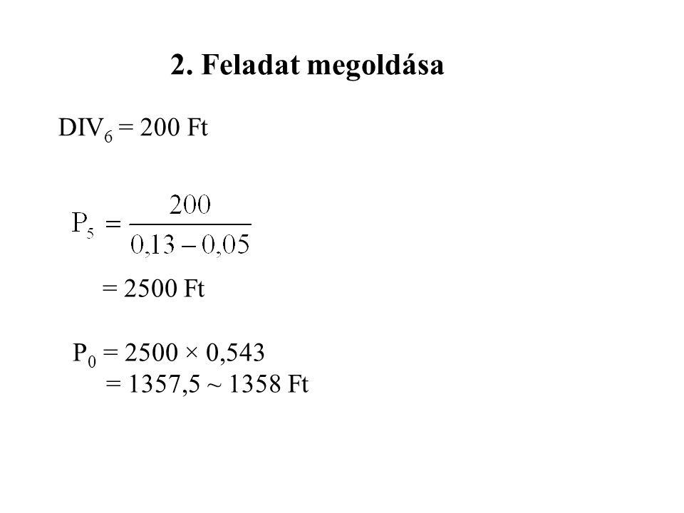 2. Feladat megoldása DIV6 = 200 Ft P0 = 2500 × 0,543