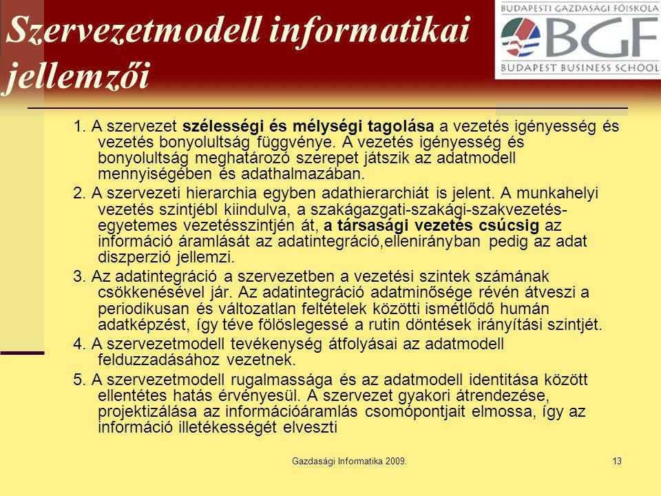 Szervezetmodell informatikai jellemzői