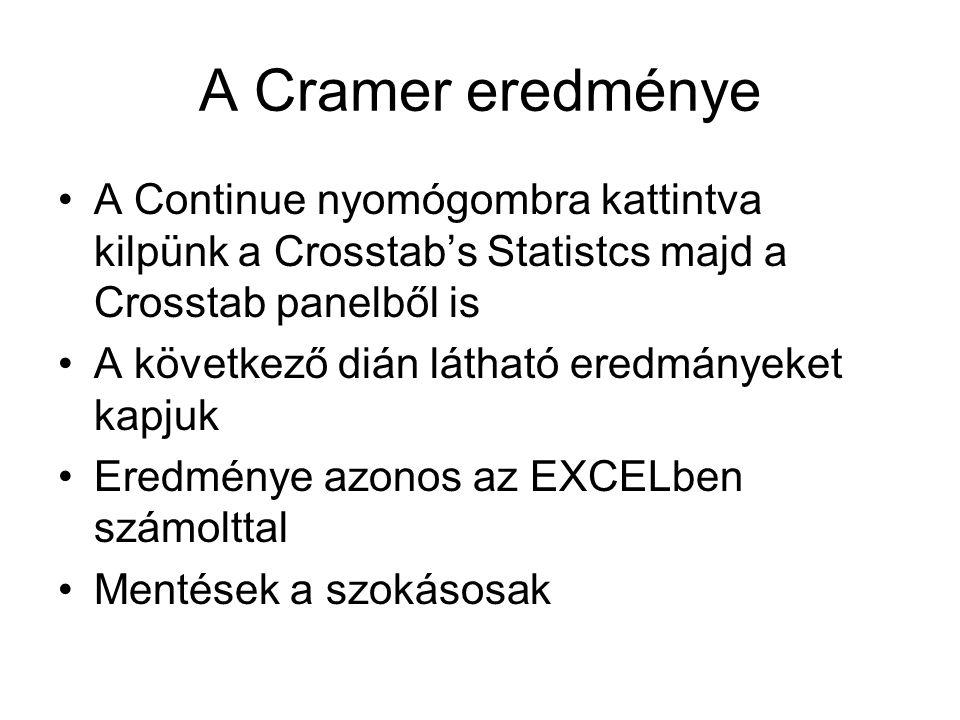 A Cramer eredménye A Continue nyomógombra kattintva kilpünk a Crosstab's Statistcs majd a Crosstab panelből is.