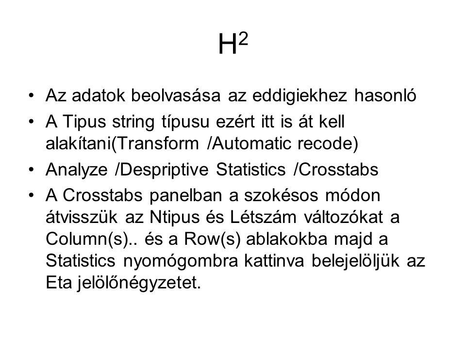 H2 Az adatok beolvasása az eddigiekhez hasonló