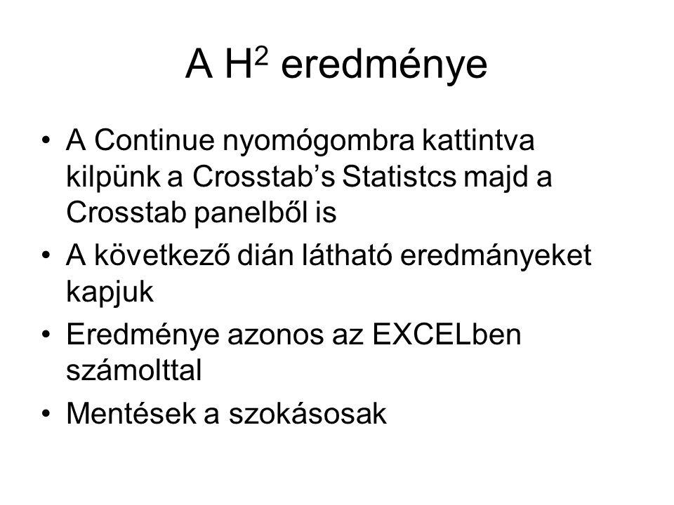 A H2 eredménye A Continue nyomógombra kattintva kilpünk a Crosstab's Statistcs majd a Crosstab panelből is.