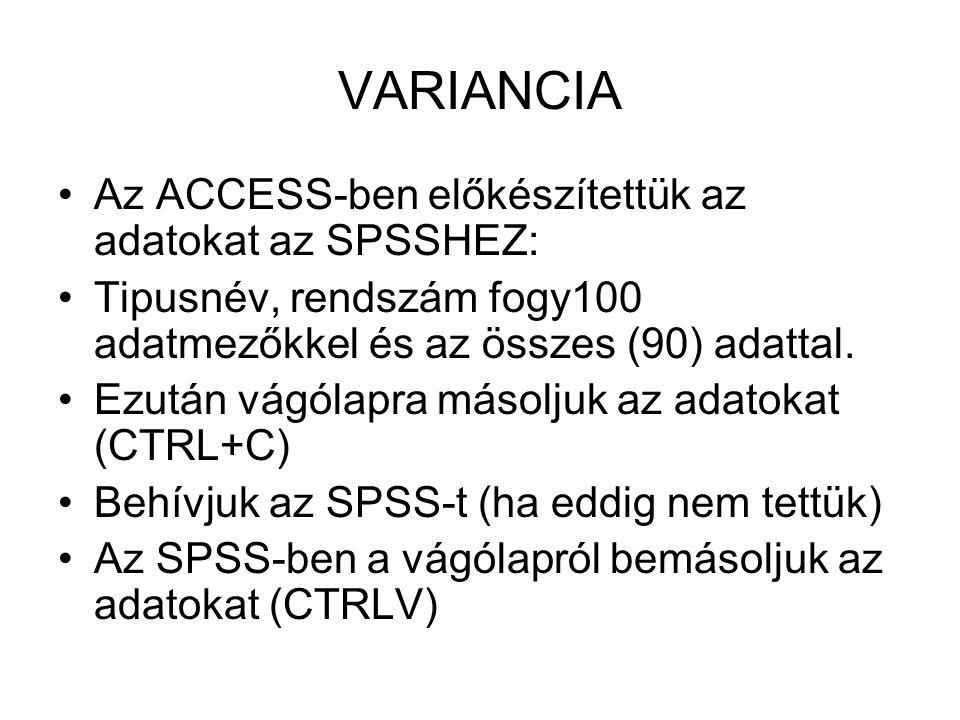 VARIANCIA Az ACCESS-ben előkészítettük az adatokat az SPSSHEZ: