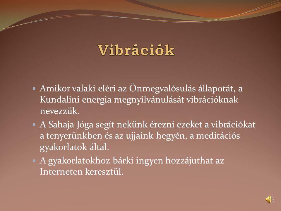 Vibrációk Amikor valaki eléri az Önmegvalósulás állapotát, a Kundalini energia megnyilvánulását vibrációknak nevezzük.