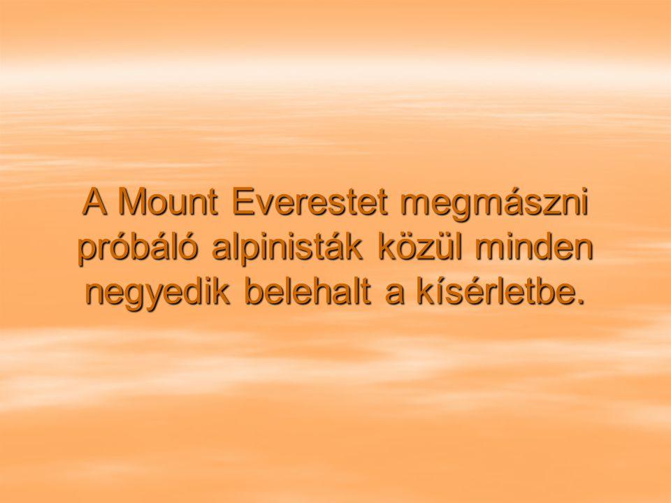 A Mount Everestet megmászni próbáló alpinisták közül minden negyedik belehalt a kísérletbe.