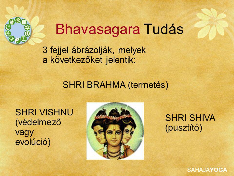 Bhavasagara Tudás 3 fejjel ábrázolják, melyek a következőket jelentik: