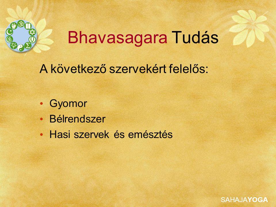 Bhavasagara Tudás A következő szervekért felelős: Gyomor Bélrendszer