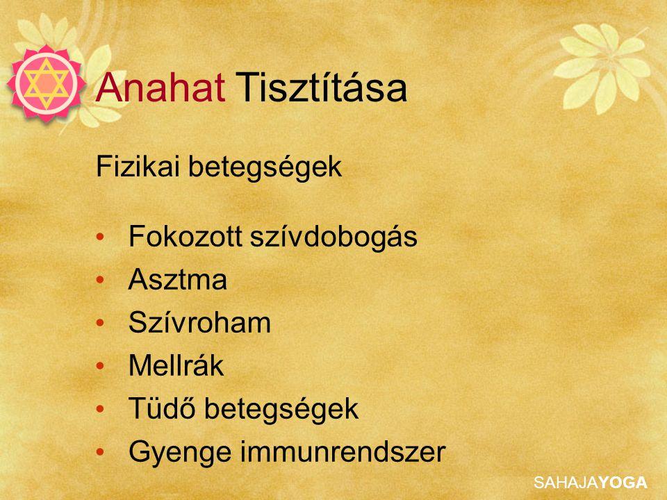 Anahat Tisztítása Fizikai betegségek Fokozott szívdobogás Asztma