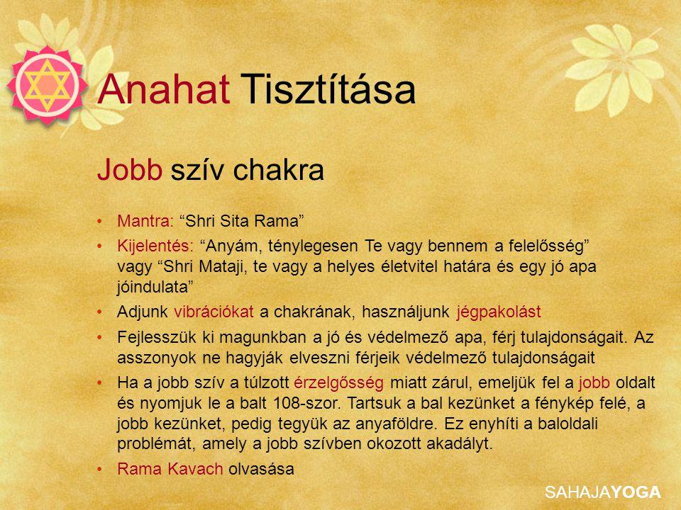 Anahat Tisztítása Jobb szív chakra Mantra: Shri Sita Rama