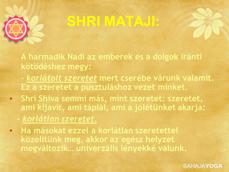 SHRI MATAJI: A harmadik Nadi az emberek és a dolgok iránti kötödéshez megy: