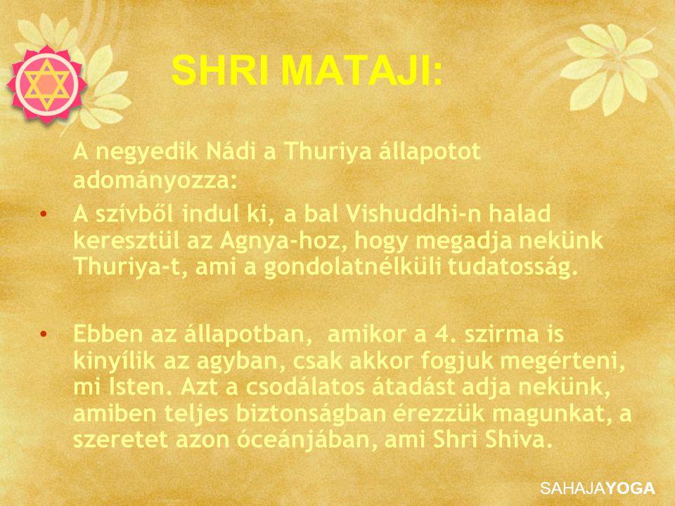 SHRI MATAJI: A negyedik Nádi a Thuriya állapotot adományozza: