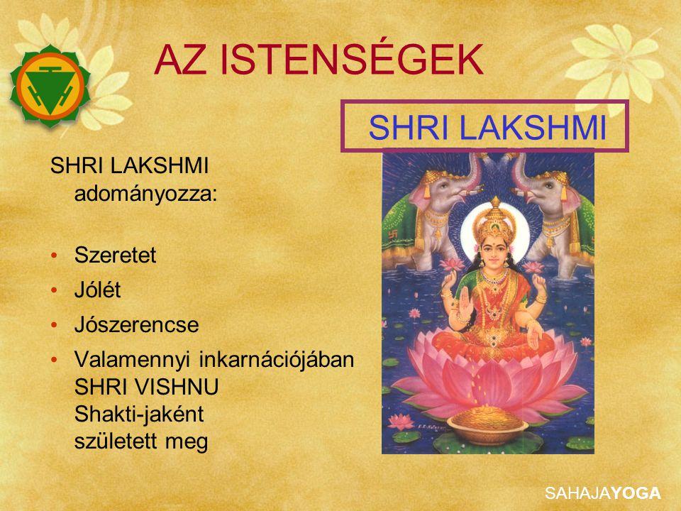 AZ ISTENSÉGEK SHRI LAKSHMI SHRI LAKSHMI adományozza: Szeretet Jólét
