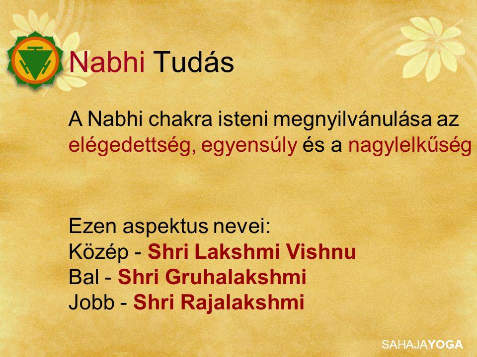 Nabhi Tudás A Nabhi chakra isteni megnyilvánulása az elégedettség, egyensúly és a nagylelkűség. Ezen aspektus nevei: