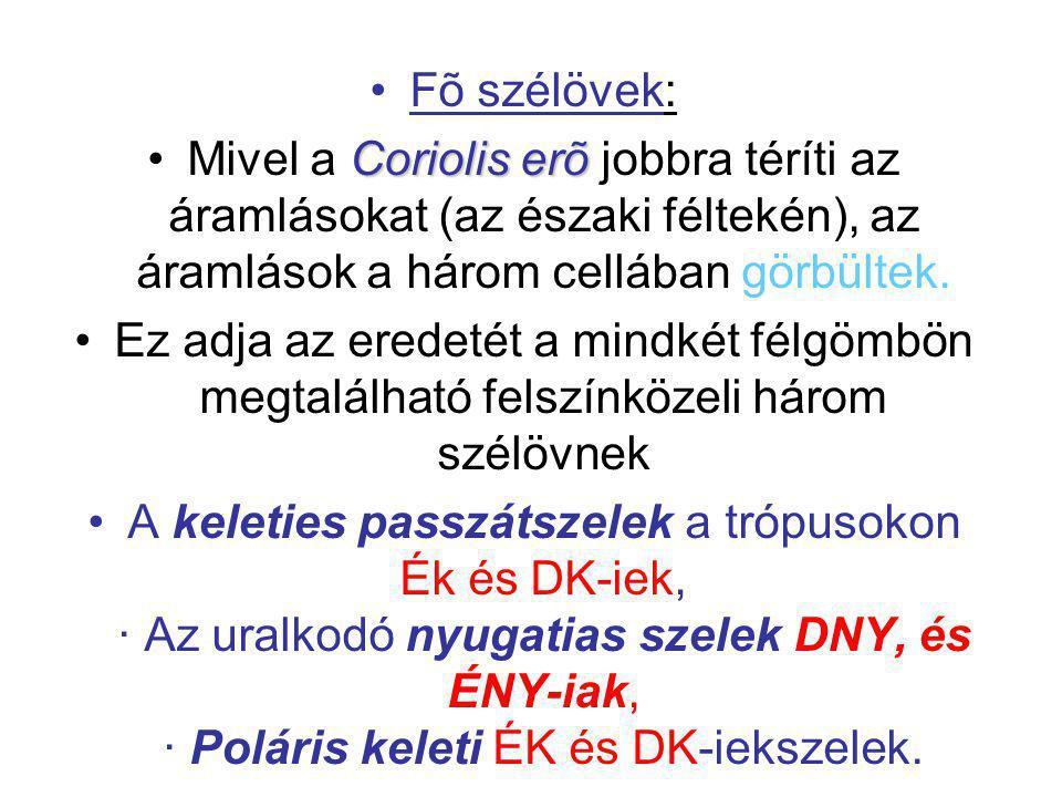 Fõ szélövek: Mivel a Coriolis erõ jobbra téríti az áramlásokat (az északi féltekén), az áramlások a három cellában görbültek.