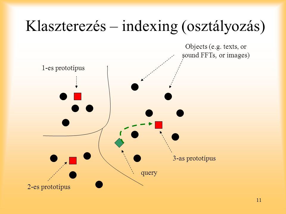 Klaszterezés – indexing (osztályozás)