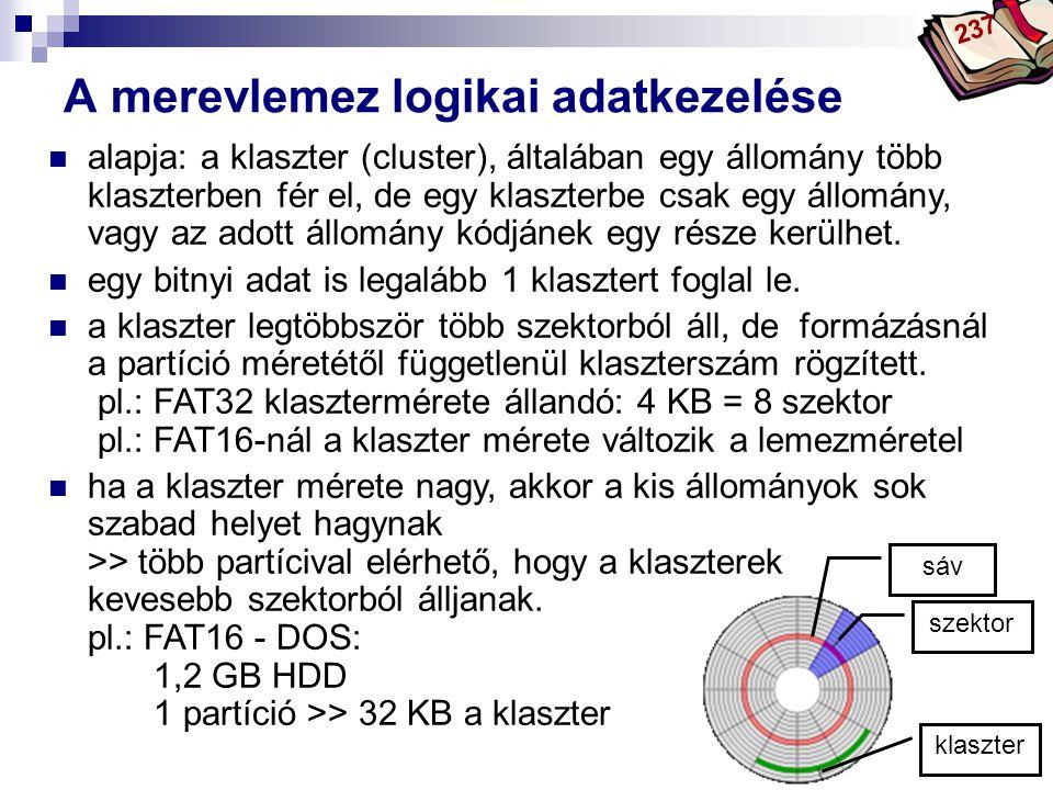A merevlemez logikai adatkezelése