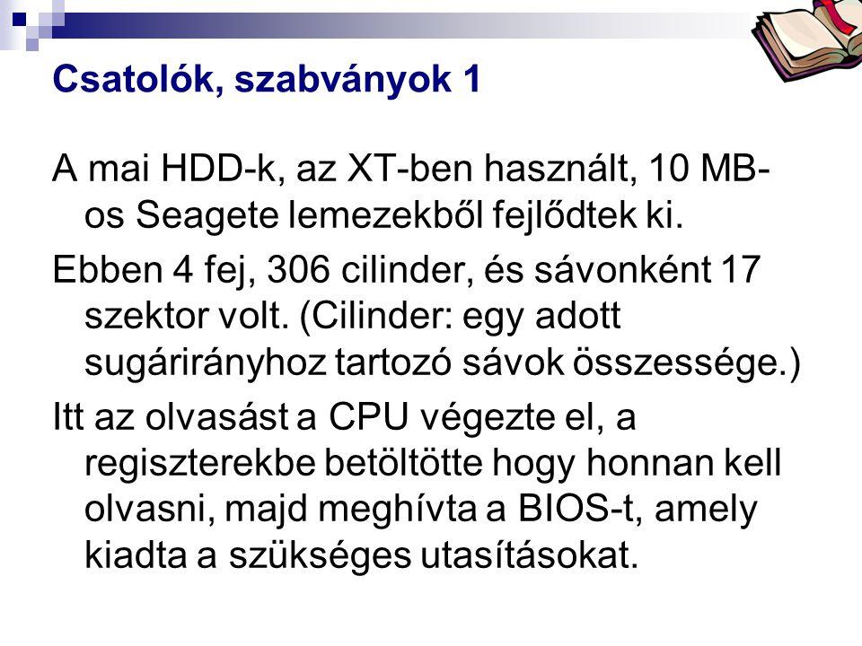 Csatolók, szabványok 1 A mai HDD-k, az XT-ben használt, 10 MB-os Seagete lemezekből fejlődtek ki.