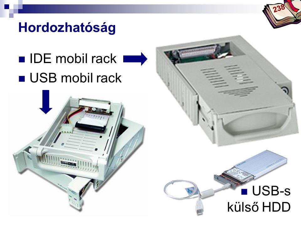238 Hordozhatóság IDE mobil rack USB mobil rack USB-s külső HDD