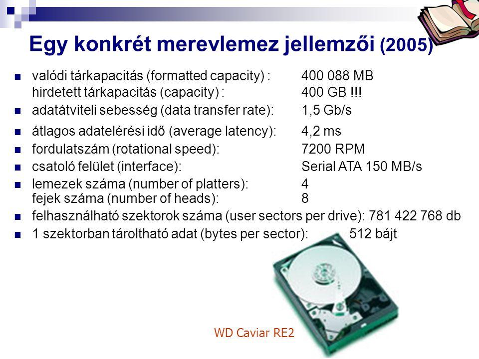 Egy konkrét merevlemez jellemzői (2005)