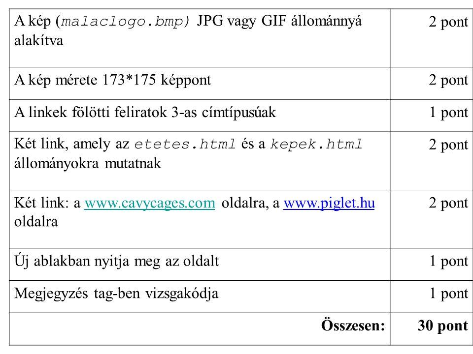 A kép (malaclogo.bmp) JPG vagy GIF állománnyá alakítva