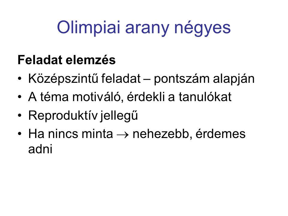 Olimpiai arany négyes Feladat elemzés