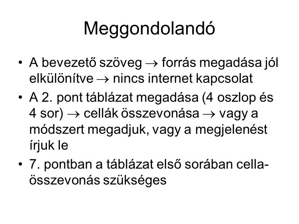 Meggondolandó A bevezető szöveg  forrás megadása jól elkülönítve  nincs internet kapcsolat.