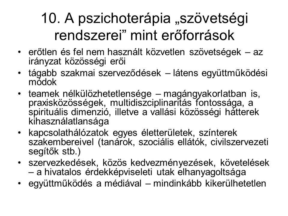 """10. A pszichoterápia """"szövetségi rendszerei mint erőforrások"""