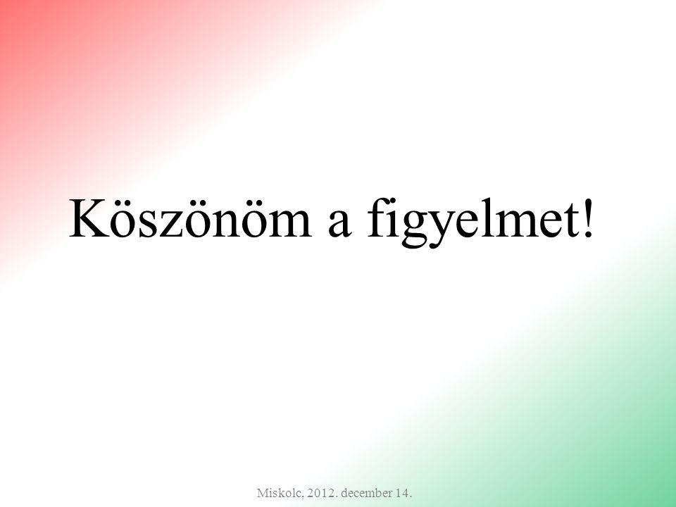Köszönöm a figyelmet! Miskolc, 2012. december 14.