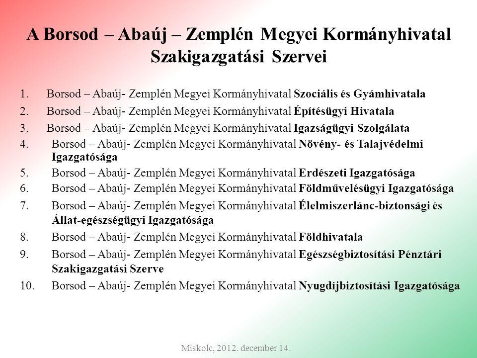 A Borsod – Abaúj – Zemplén Megyei Kormányhivatal Szakigazgatási Szervei