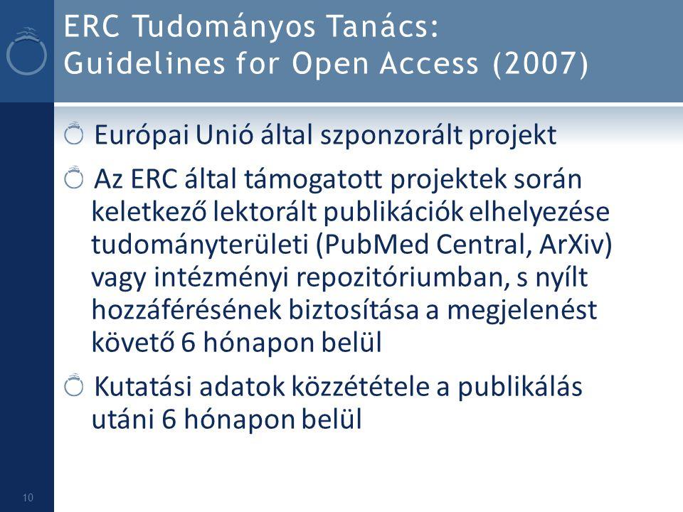 ERC Tudományos Tanács: Guidelines for Open Access (2007)