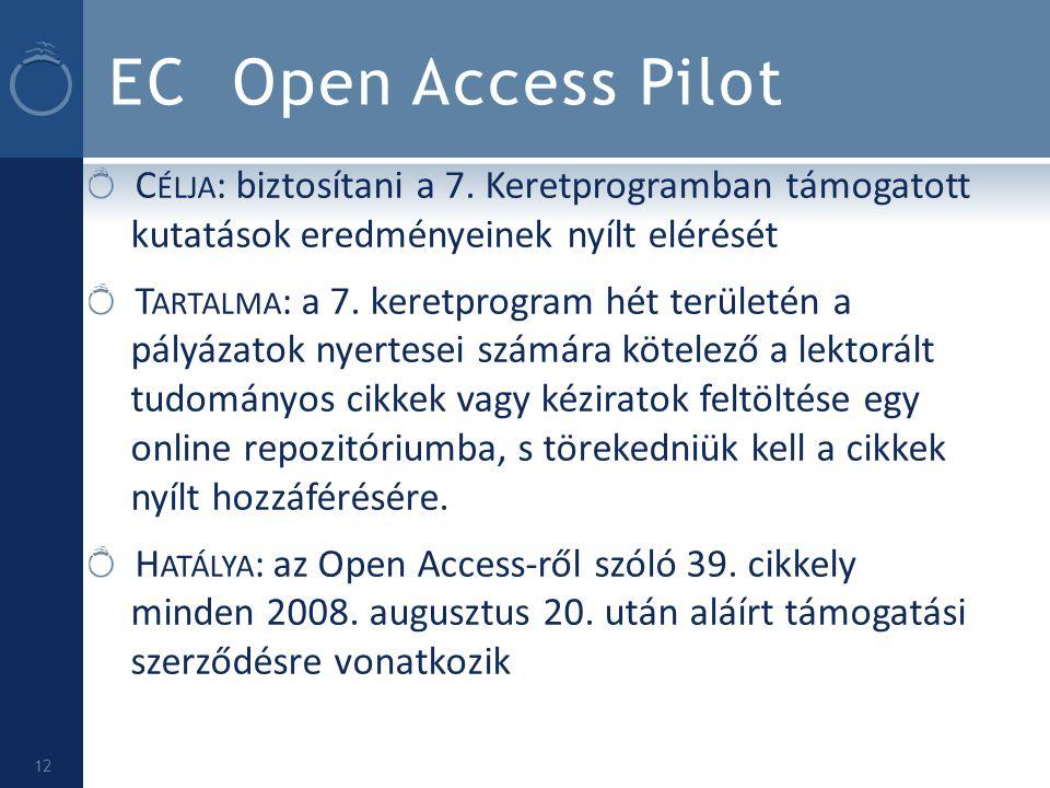 EC Open Access Pilot Célja: biztosítani a 7. Keretprogramban támogatott kutatások eredményeinek nyílt elérését.