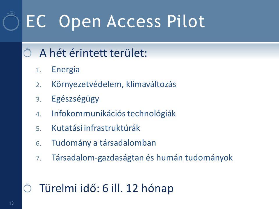 EC Open Access Pilot A hét érintett terület:
