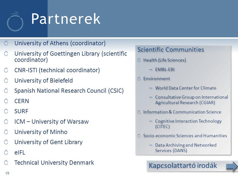 Partnerek Kapcsolattartó irodák Scientific Communities