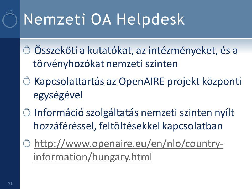 Nemzeti OA Helpdesk Összeköti a kutatókat, az intézményeket, és a törvényhozókat nemzeti szinten.