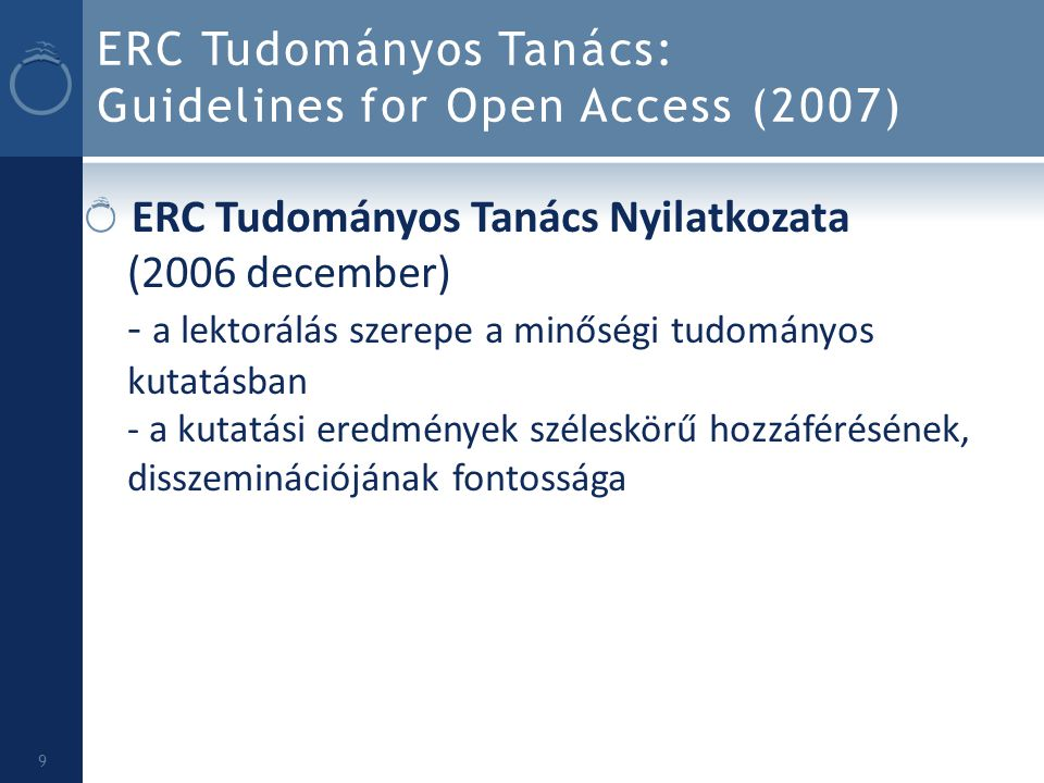 ERC Tudományos Tanács: Guidelines for Open Access (2007)