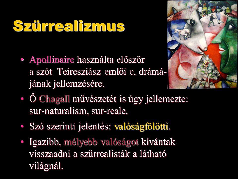 Szürrealizmus Apollinaire használta először a szót Teiresziász emlői c. drámá- jának jellemzésére.