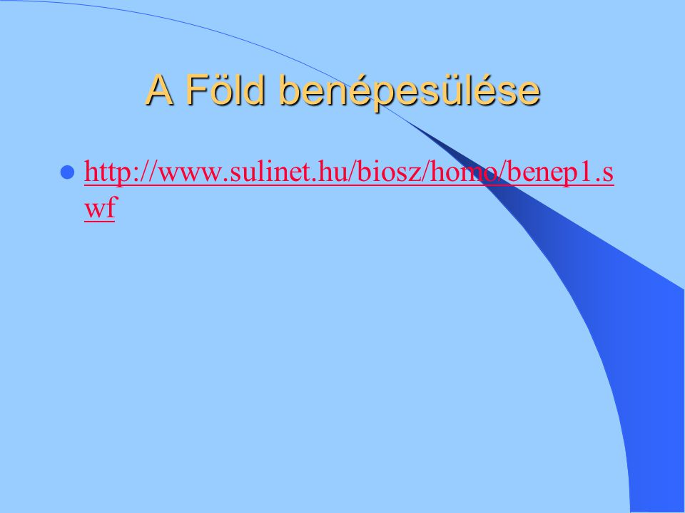 A Föld benépesülése http://www.sulinet.hu/biosz/homo/benep1.swf