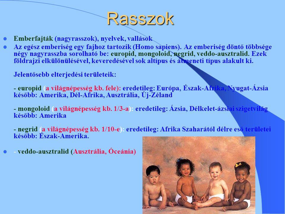 Rasszok Emberfajták (nagyrasszok), nyelvek, vallások