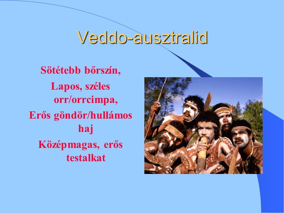 Veddo-ausztralid Sötétebb bőrszín, Lapos, széles orr/orrcimpa,