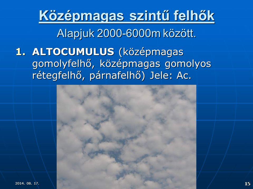 Középmagas szintű felhők Alapjuk 2000-6000m között.